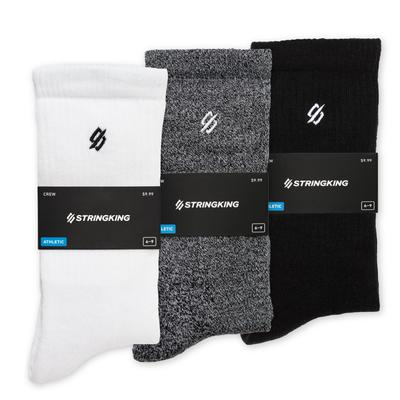 StringKing Unisex Athletic Crew Socks White Gray Black