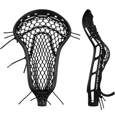 StringKing Women's Mark 2 Midfield Lacrosse Head Strung Face Pocket View Black Black