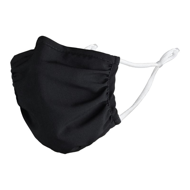 Washable Reusable Face Covering Black Fabric White Earloops