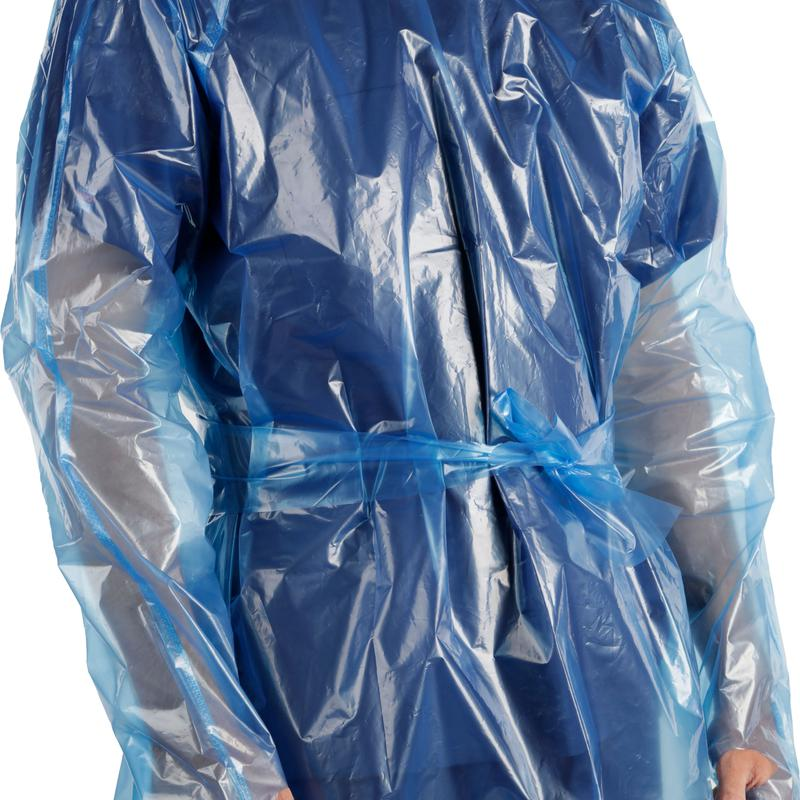 Blue Disposable Berry Compliant Plastic PPE Isolation Gown Donning and Doffing