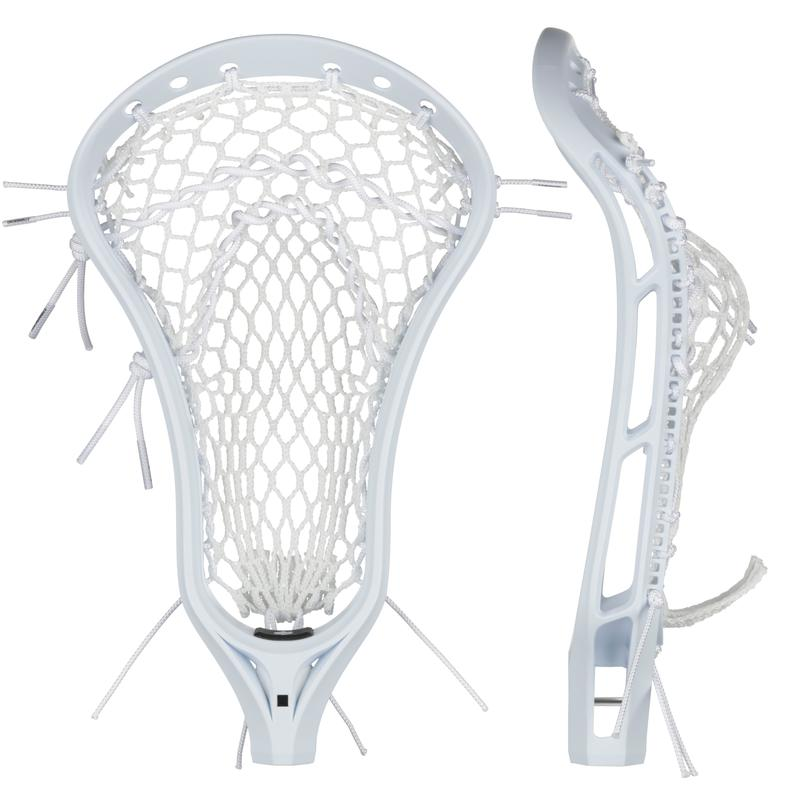 StringKing Women's Legend W Lacrosse Head Strung Face Side View White White