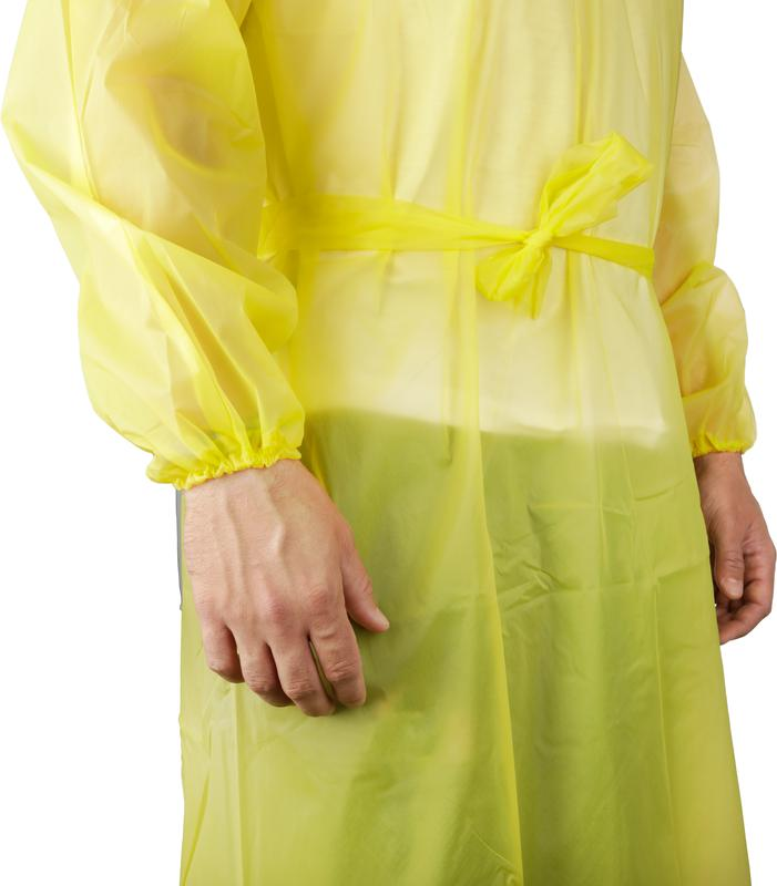 Yellow Disposable Plastic PPE Isolation Gown Donning and Doffing
