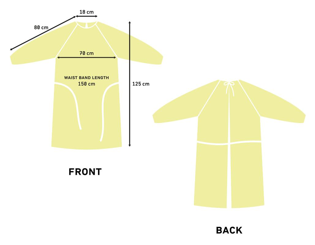 Yellow Disposable Plastic PPE Isolation Gown Sizing Graphics