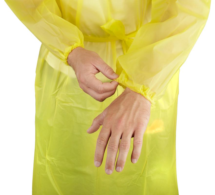 Yellow Disposable Plastic PPE Isolation Gown Elastic Wrist