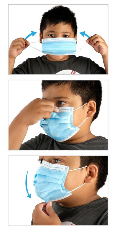 Disposable 3-Layer Kids Youth Face Mask Single Use PPE Wearing Instructions