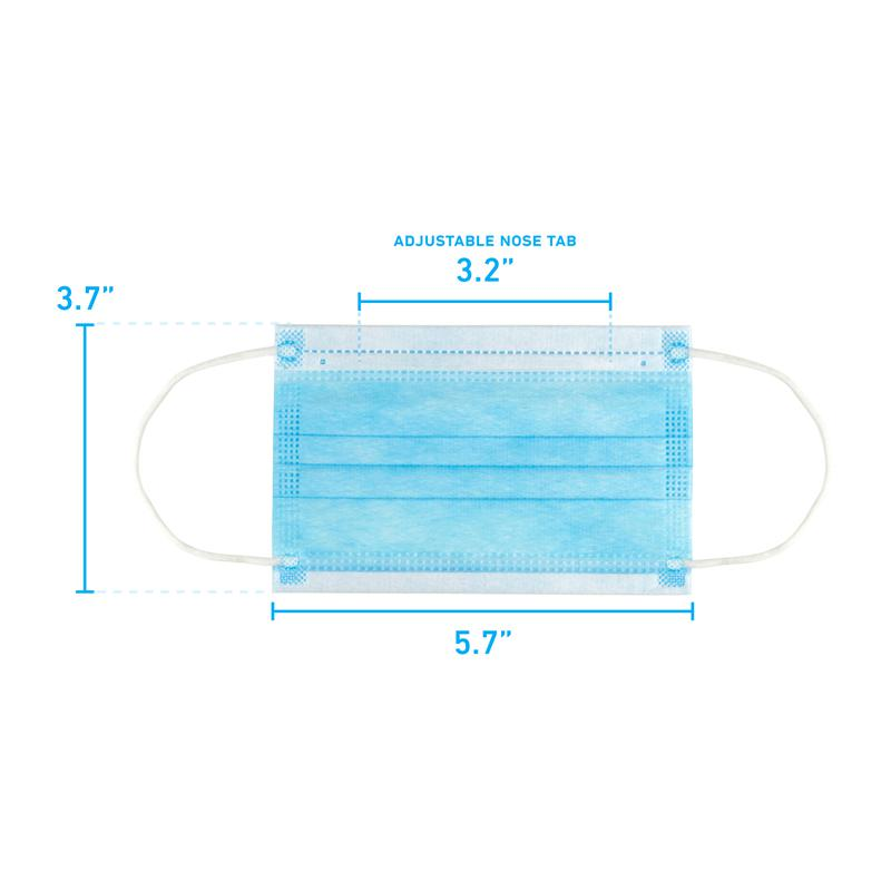 Disposable 3-Layer Kids Youth Face Mask Single Use PPE Sizing Dimensions