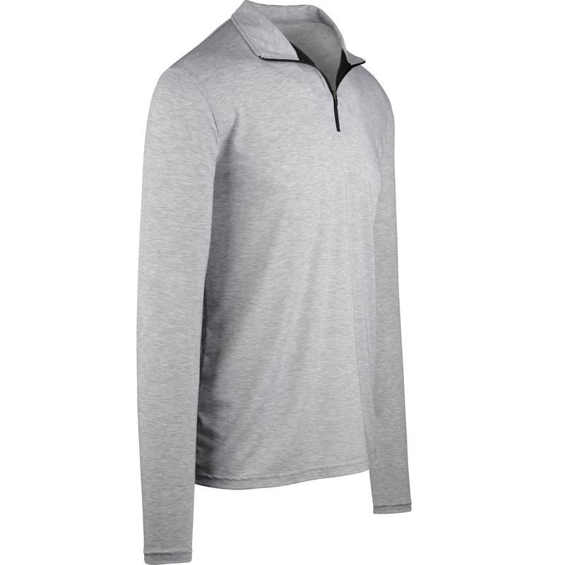 StringKing Apparel Quarter Zip Athletic 2 Heather Gray Angle View