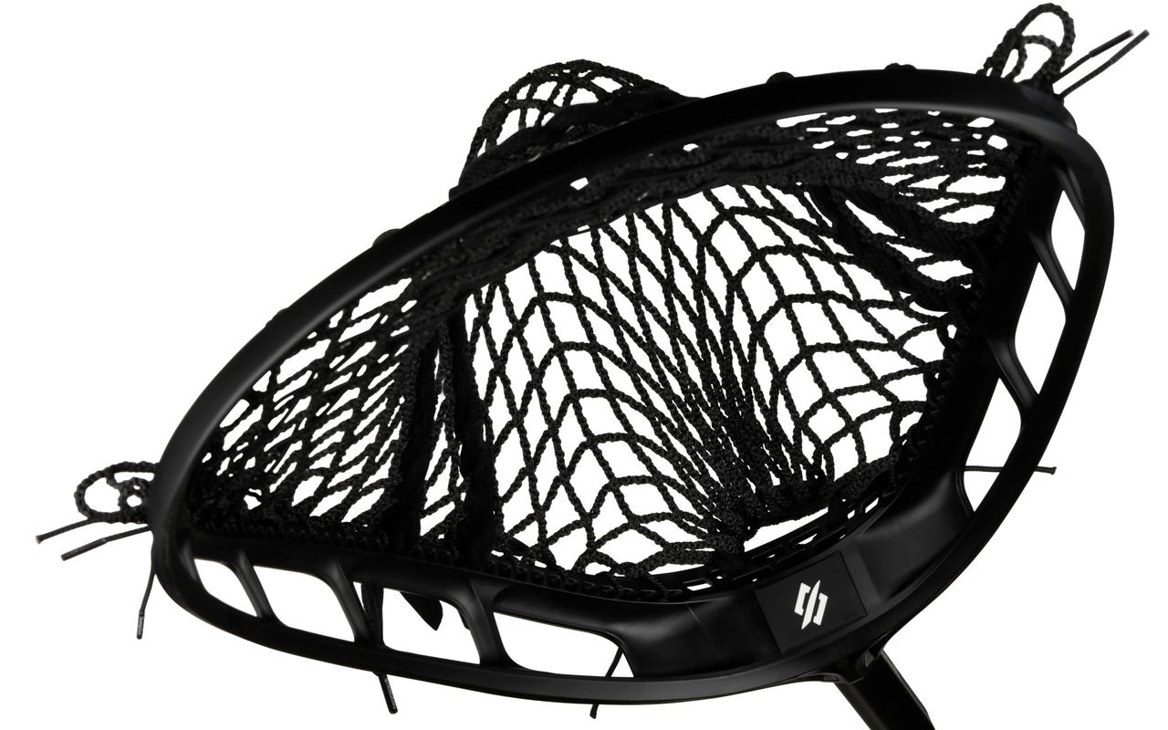 StringKing Lacrosse Mark 2G Goalie Head Black Black Strung Top View Surface Area