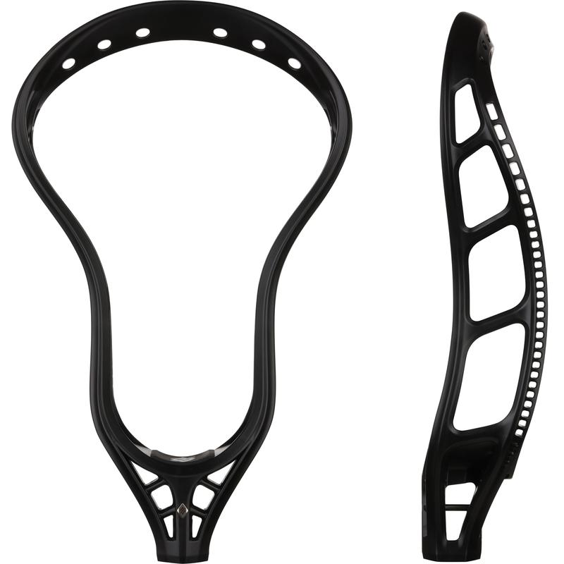 StringKing Mark 2V Men's Midfield Lacrosse Head Unstrung Black Face Sidewall View