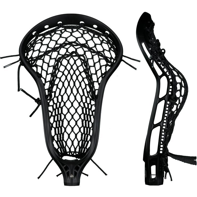 StringKing Women's Mark 2 Defense Lacrosse Head Strung Front Side View Black Black