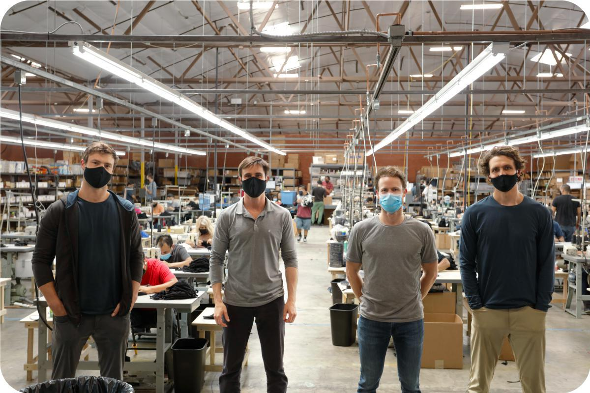 Washable USA Made Cloth Face Mask Black Production Team in Warehouse