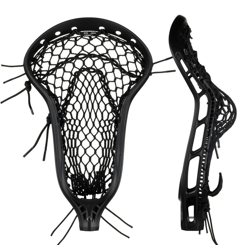 StringKing Women's Mark 2 Defense Lacrosse Head Strung Front Side View Black Black